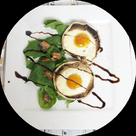 egg baked in portobello mushrooms