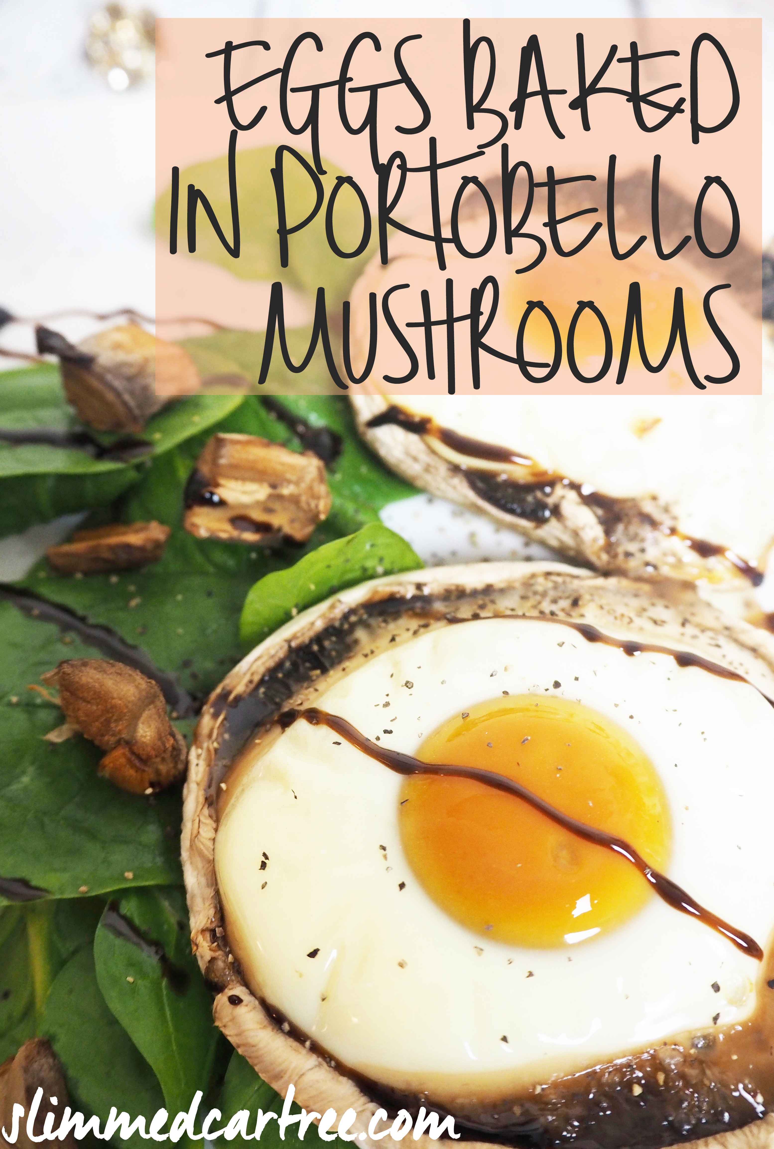 egg baked in portobello mushrooms - easy breakfast recipe only takes 30 minutes to cook!